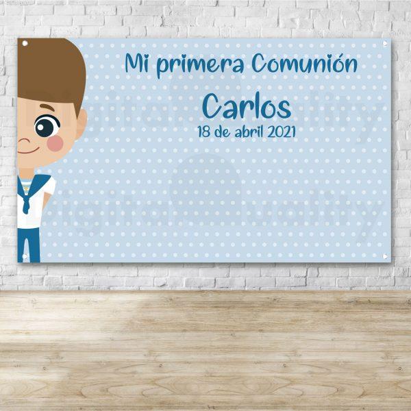 Photocall Comunión Topos Azul