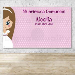 Photocall Comunión Topos Rosa