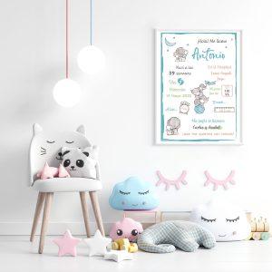 Lámina infantil elefantes azul